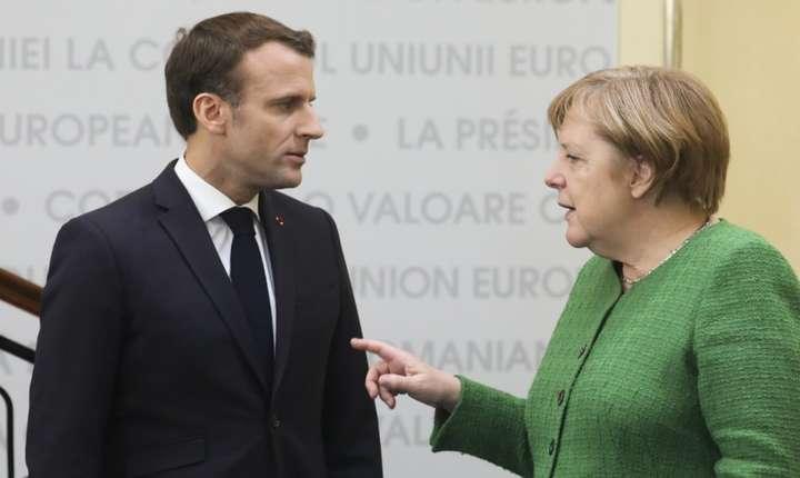 Emmanuel Macron si Angela Merkel în cadrul summitului european de la Sibiu, 9 mai 2019.