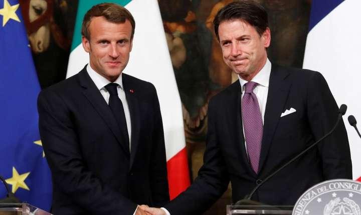 Emmanuel Macron si Giuseppe Conte pe 18 septembrie 2019 la Roma.