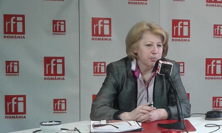 Ministrul Fondurilor Europene, Aura Răducu, în studioul RFI România (Foto: RFI/Amedeo Achim)