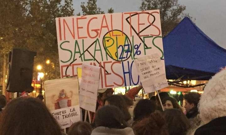 Manifestatii, la Paris, contra inegalitàtilor salariale între bàrbati si femei, 7 noiembrie 2016