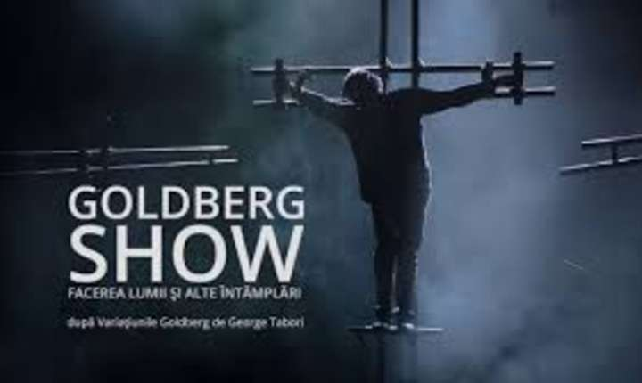"""Scena din spectacolul """"Goldberg Show - Facerea lumii si alte întîmplari"""", regia Mihai Manitiu, cu Marcel Iures în rolul titular"""