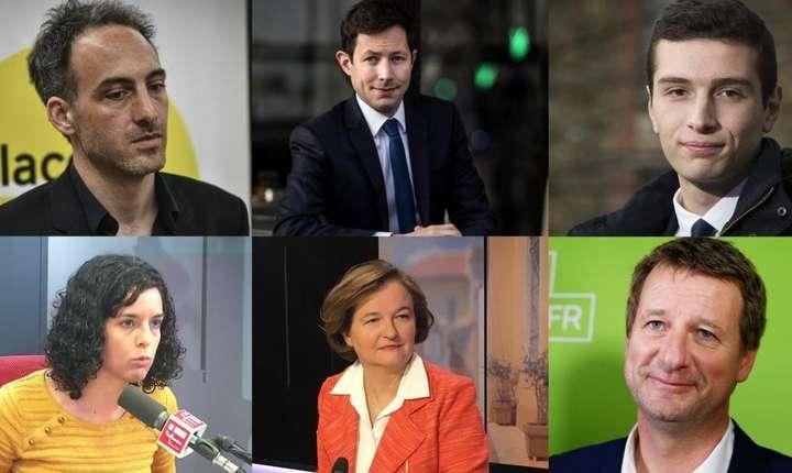 Raphaël Glucksmann, François-Xavier Bellamy, Jordan Bardella, Manon Aubry, Nathalie Loiseau et Yannick Jadot - capete de lista în Franta
