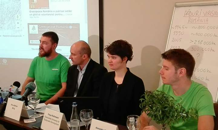 Imagine din conferinţa de presă a organizaţiei Greenpeace România, din 15 noiembrie 2017 (Foto: RFI/Cosmin Ruscior)