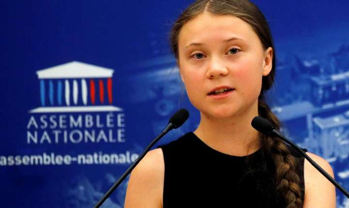 Greta Thunberg în fata deputatilor francezi, 23 iulie 2019.