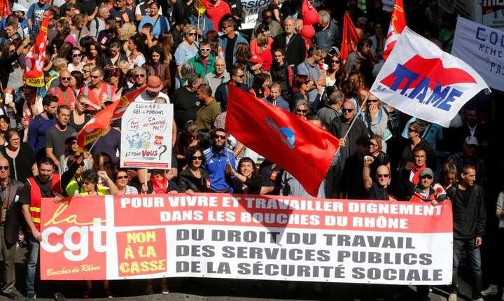 Manifestatie împotriva reformei Codului Muncii la Marsilia pe 12 septembrie 2017