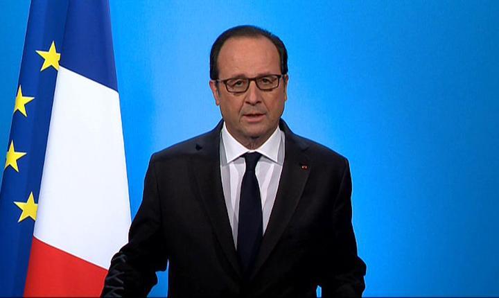 Presedintele Frantei, François Hollande, anuntând la televiziune cà nu se prezintà pentru un nou mandat în 2017, 1 decembrie 2016