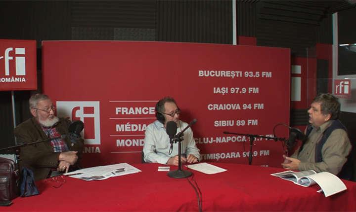 Horia Nicolescu, Constantin Rudniţchi și Cristian Șoricuț in studioul de inregistrari RFI Romania