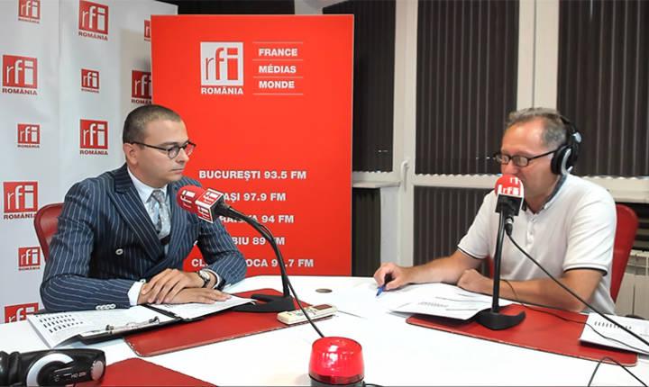 Iancu Guda și Constantin Rudniţchi in studioul RFI Romania