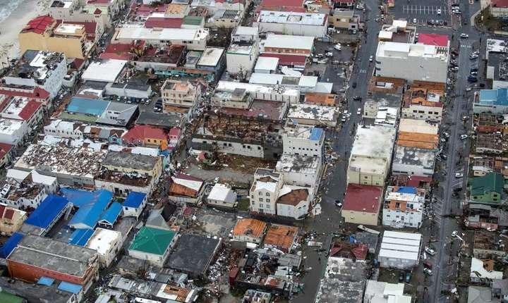 Partea olandezà a insulei Saint-Martin din Caraibe, pe 6 septembrie 2017 dupà trecerea uraganului Irma