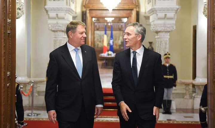 Klaus Iohannis şi Jens Stoltenberg, discursuri la Adunarea Parlamentară a NATO, luni, 9 octombrie 2017 (Sursa foto: site Preşedinţie)