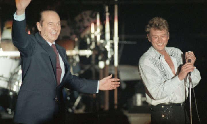 Johnny Hallyday care a cîntat în prima parte a unui miting electoral al lui Jacques Chirac, pe 20 martie 1988.