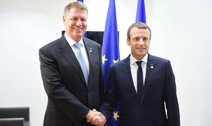 Presedintii Klaus Iohannis si Emmanuel Macron la Bruxelles, iunie 2017