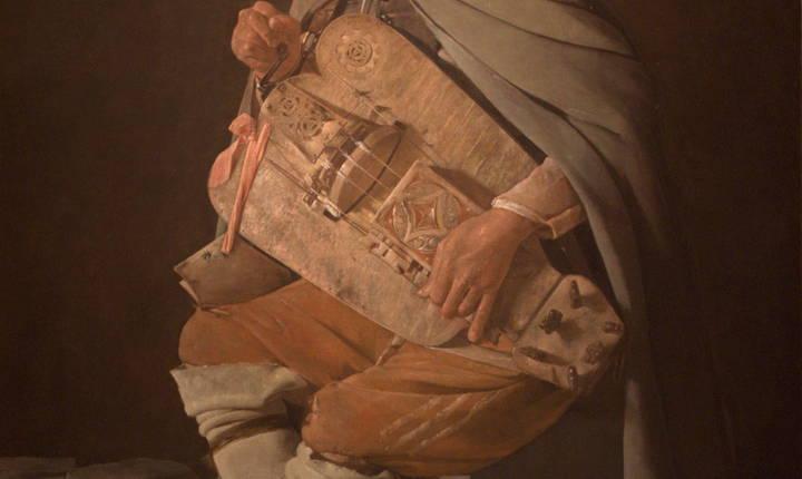 """""""Le Vielleur"""", tablou de Georges de La Tour, Muzeul de artă de la Nantes."""