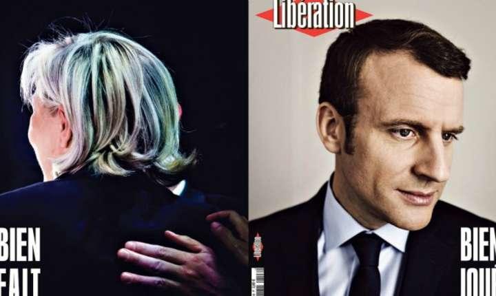 Coperta dublà a ziarului Libération din 8 mai 2017