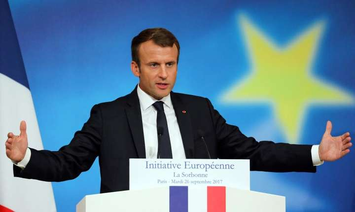 Presedintele francez Emmanuel Macron, la Sorbona, unde a rostit pe 26 septembrie, un lung discurs despre viitorul Europei