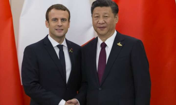 Presedintii Frantei si Chinei, Emmanuel Macron si Xi Jinping, la reuniunea G20 de la Hamburg, iulie 2017