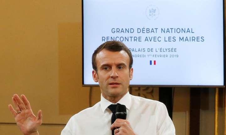 Presedintele francez Emmanuel Macron în cursul unei întâlniri cu primari, pe 1 februarie 2019