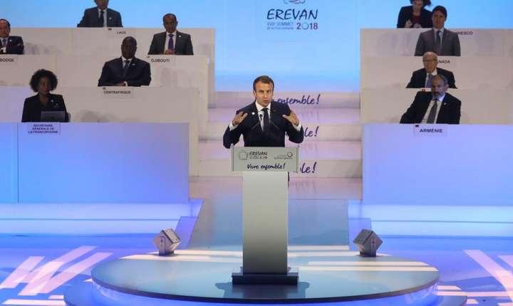 Presedintele francez Emmanuel Macron, în deschiderea sommet-ului Francofoniei de la Erevan, Armenia, 11 octombrie 2018