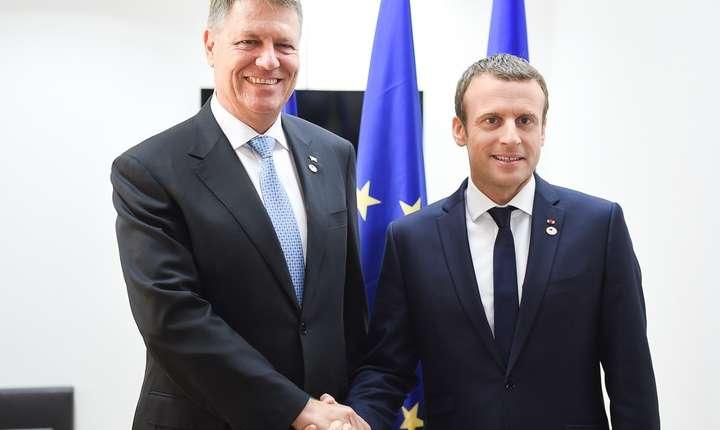 Președintele României, Klaus Iohannis, și președintele Franței, Emmanuel Macron