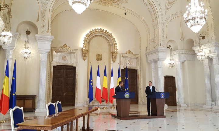 Presedintii Emmanuel Macron si Klaus Iohannis la Palatul Cotroceni, 24 august 2017