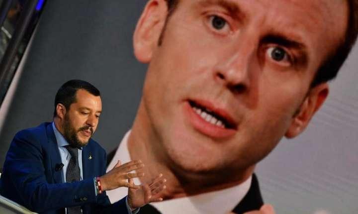 Matteo Salvini, ministrul italian de Interne, în timpul unei emisiuni televizate pentru Rai 1 (iunie 2018).