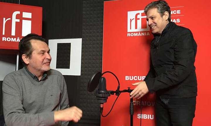 Mircea Vasilescu și Nicolas Don in studioul de inregistrari RFI Romania