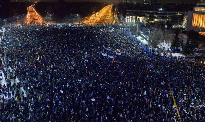 Piața Victoriei, 2 februarie 2017. Foto: Lucian Munteanu