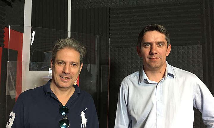 Nicolas Don și Ionel Danca in studioul de inregistrari RFI ROmania