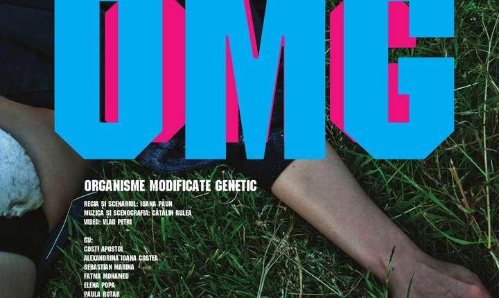 """Afişul spectacolului """"OGM – Organisme Modificate Genetic"""" prezentat între 2 şi 4 aprilie la Lyon, la Théâtre du Point du Jour"""