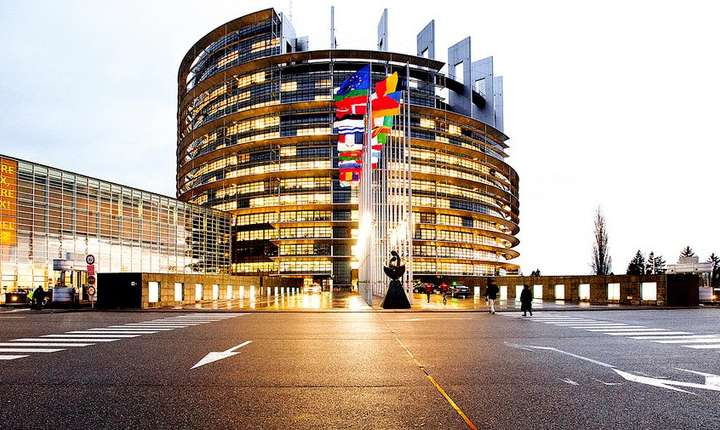 Sediul Parlamentului european de la Strasbourg în fata càruia va tine, marti, un discurs premierul Viorica Dàncilà