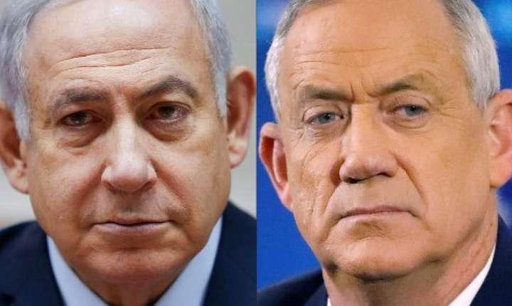 Premierul Benjamin Netanyahu si fostul sef de Stat Major, Benny Gantz.