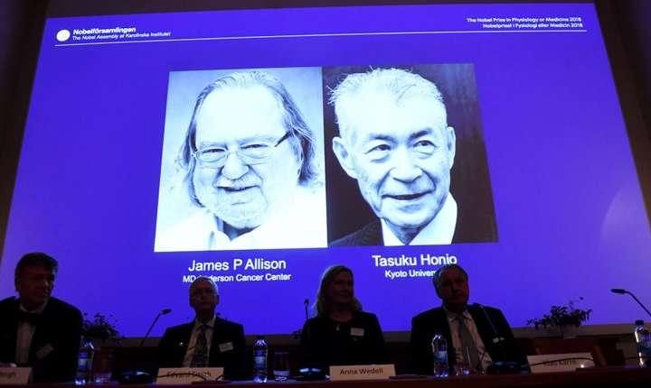 Premiul Nobel pentru Medicina 2018 este atribuit americanului James Allison si japonezului Tasuku Honjo, 1 octombrie 2018.