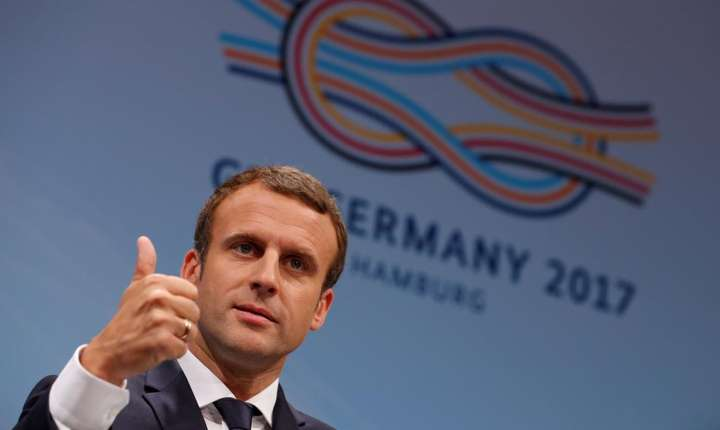 Presedintele Emmanuel Macron in timpul G20 la Hamburg, 8 iulie 2017