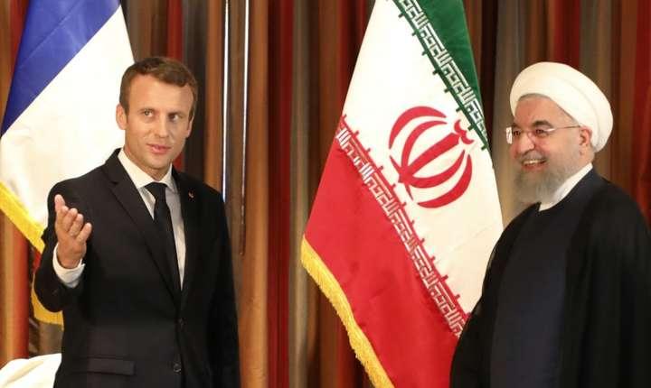 Presedintele Emmanuel Macron si omologul iranian, Hassan Rohani, 18 septembre 2017, la  ONU.