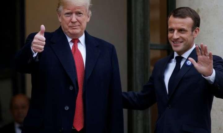 Presedintele francez Emmanuel Macron l-a primit pe omologul american Donald Trump la palatul Elysée, 10 noiembrie 2018 cu ocazia marcarii celor 100 de ani de la sfârsitul Primului Razboi Mondial.