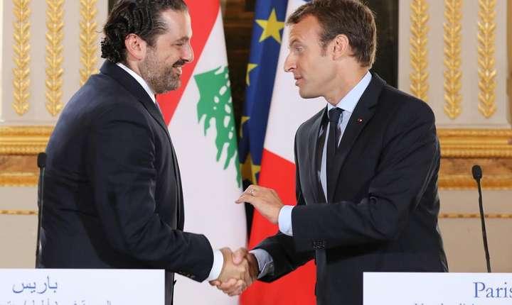 Presedintele Frantei, Emmanuel Macron si seful guvernului libanez Saad Hariri pe 1 septembrie 2017 la Paris. Nimic nu lasa sa se întrevada criza inedita care avea sa izbucneasca doua luni mai tarziu