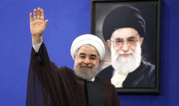 Presedintele reales Hassan Rohani, dupa discursul televizat, Teheran, 20 mai 2017