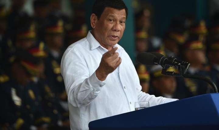 Presedintele Rodrigo Duterte, 8 august 2018, la Manila, cu ocazia celebrarii politiei filipineze.
