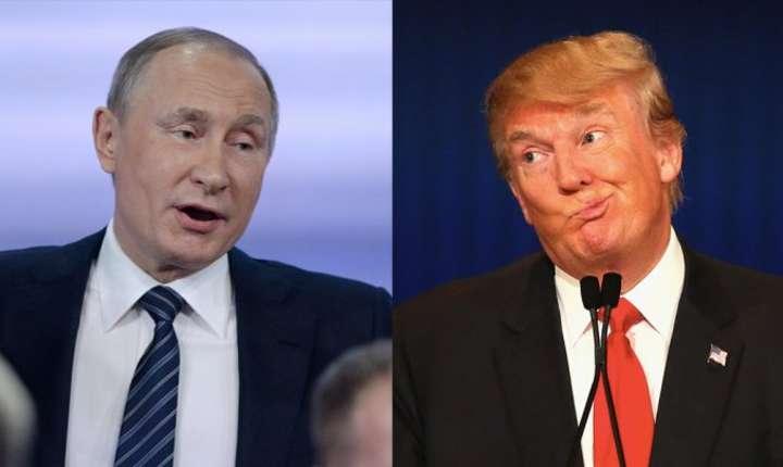 Presedintele Rusiei, Vladimir Putin (s) si presedintele SUA, Donald Trump (d)