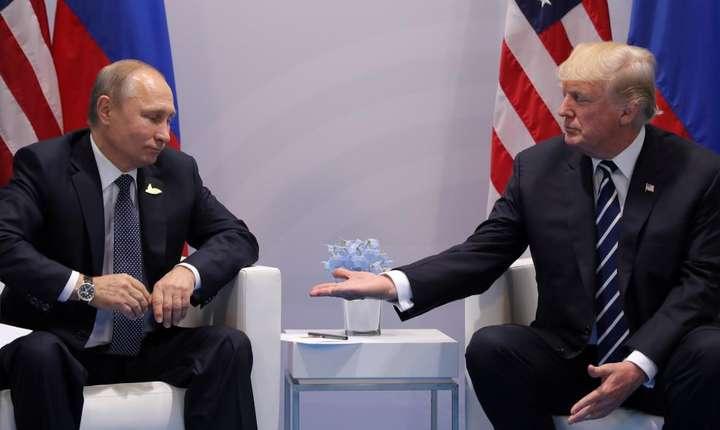 Presedintii Vladimir Putin si Donald Trump în timpul G20 din Hamburg, 7 iulie 2017