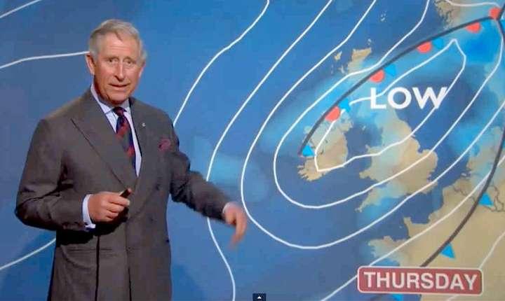 Prințul Charles prezentând buletinul meteo la BBC în 2012