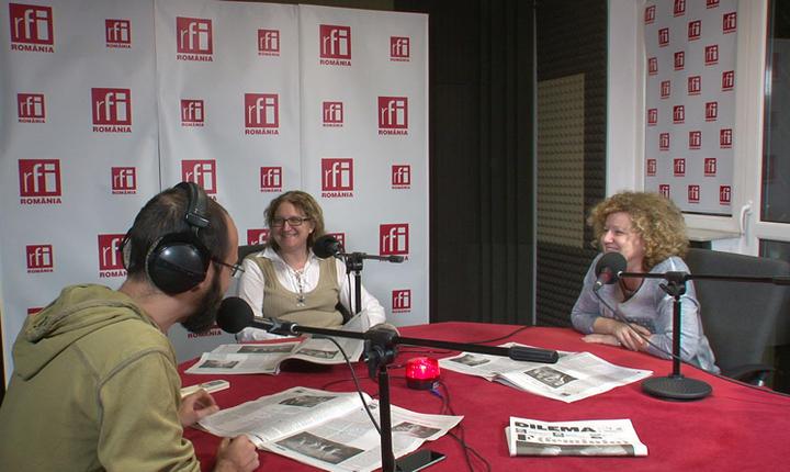 Laurenţiu Colintineanu, Iaromira Popovici şi Laura Grunberg in studioul RFI Romania