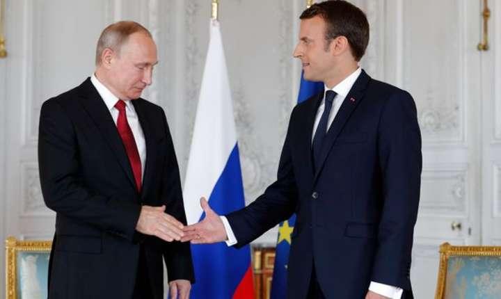 Vladimir Putin, primit la Versailles de Emmanuel Macron