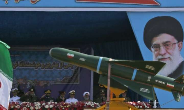 Rachete iraniene prezentate la o parada militara pe 18 aprilie 2018 la Teheran.