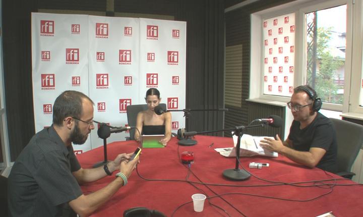 Laurenţiu Colintineanu, Stela Giurgeanu şi Teodor Tiţă in studioul RFI Romania