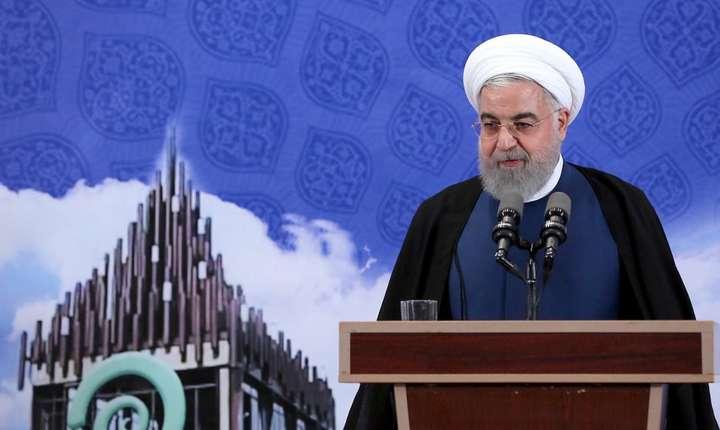 Presedintele Iranului, Hassan Rohani, anuntând reluarea îmbogàtirii de uraniu, 5 noiembrie 2019