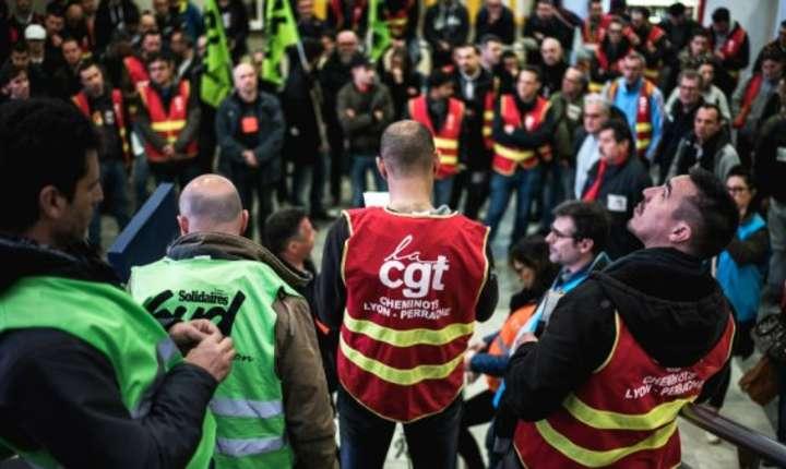 Adunare generalà a sindicalistilor de la càile ferate, gara din Lyon, 3 aprilie 2018