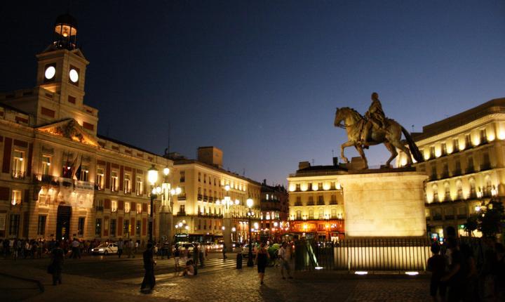 Puerta del Sol, din centrul Madridului, e cea mai aglomerată zonă a capitalei Spaniei