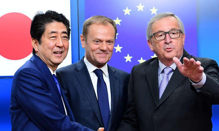 Shinzo Abe, Donald Tusk si Jean-Claude Juncker