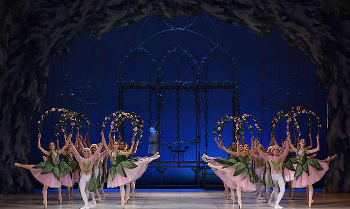 """Cadru din spectacolul """"Spărgătorul de nuci"""" de Piotr Ilici Ceaikovski, coregrafia lui Oleg Danovski, adaptarea regizorală și coregrafică poartă semnătura lui Oleg Danovski Jr., scenografia a fost realizată de către Andreea Koch"""